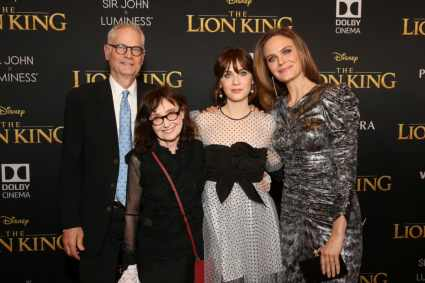 "HOLLYWOOD, CALIFORNIA - JULY 09: (L-R) Director of Photography Caleb Deschanel, Mary Jo Deschanel, Zooey Deschanel, and Emily Deschanel attend the World Premiere of Disney's ""THE LION KING"" at the Dolby Theatre on July 09, 2019 in Hollywood, California. (Photo by Jesse Grant/Getty Images for Disney)"