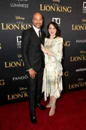 "HOLLYWOOD, CALIFORNIA - JULY 09: Keegan-Michael Key (L) and Elisa Pugliese attend the World Premiere of Disney's ""THE LION KING"" at the Dolby Theatre on July 09, 2019 in Hollywood, California. (Photo by Jesse Grant/Getty Images for Disney)"