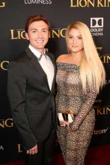 "HOLLYWOOD, CALIFORNIA - JULY 09: Daryl Sabara (L) and Meghan Trainor attend the World Premiere of Disney's ""THE LION KING"" at the Dolby Theatre on July 09, 2019 in Hollywood, California. (Photo by Jesse Grant/Getty Images for Disney)"