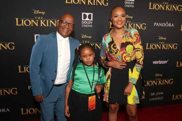 "HOLLYWOOD, CALIFORNIA - JULY 09: Creator/producer African vocal/choir arrangements Lebo M. (L) and guests attend the World Premiere of Disney's ""THE LION KING"" at the Dolby Theatre on July 09, 2019 in Hollywood, California. (Photo by Jesse Grant/Getty Images for Disney)"