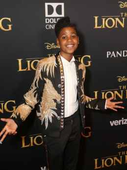"HOLLYWOOD, CALIFORNIA - JULY 09: JD McCrary attends the World Premiere of Disney's ""THE LION KING"" at the Dolby Theatre on July 09, 2019 in Hollywood, California. (Photo by Jesse Grant/Getty Images for Disney)"
