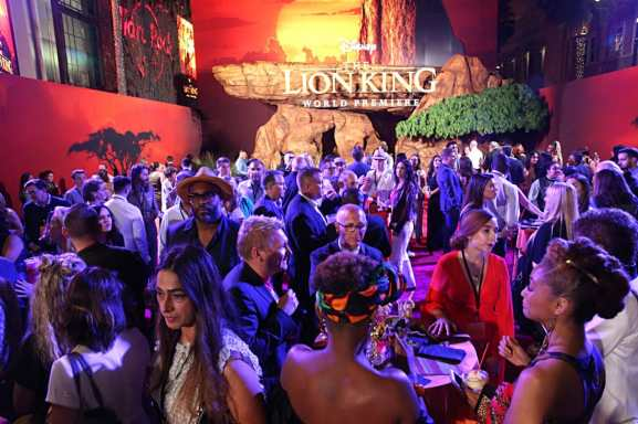 "HOLLYWOOD, CALIFORNIA - JULY 09: Guests attend the World Premiere of Disney's ""THE LION KING"" at the Dolby Theatre on July 09, 2019 in Hollywood, California. (Photo by Jesse Grant/Getty Images for Disney)"
