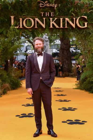 """Seth Rogen attends the European Premiere of Disney's """"The Lion King"""" at the Odeon Leicester Square on 14th July 2019 in London, UK"""