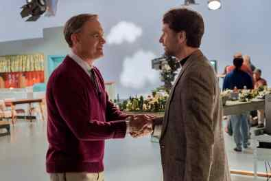 Mister Rogers (Tom Hanks) meets journalist Lloyd Vogel (Matthew Rhys) in TriStar Pictures' A BEAUTIFUL DAY IN THE NEIGHBORHOOD.