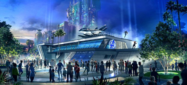 Guests can suit up alongside their favorite Super Heroes at the Avengers Campus, beginning in 2020 at Disney California Adventure park at Disneyland Resort. The campus will feature the first Disney ride-through attraction to feature Spider-Man, along with other heroic encounters. (Disney/Marvel)
