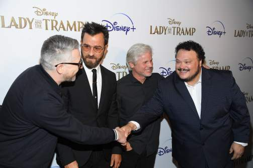 "NEW YORK, NEW YORK - OCTOBER 22: (L-R) Charlie Bean, Justin Theroux, Brigham Taylor and Adrian Martinez attend as Cinema Society hosts a special screening of Disney+'s ""Lady And The Tramp"" at iPic Theater on October 22, 2019 in New York City. (Photo by Dimitrios Kambouris/Getty Images for Disney+)"