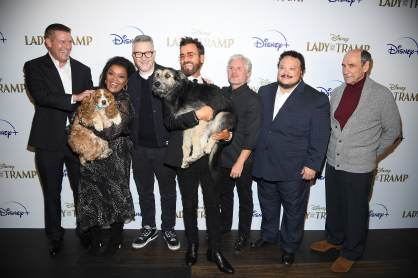 "NEW YORK, NEW YORK - OCTOBER 22: (L-R) Kevin A. Mayer, Rose, Yvette Nicole Brown, Charlie Bean, Monte, Justin Theroux, Brigham Taylor, Adrian Martinez and F Murray Abraham attend as Cinema Society hosts a special screening of Disney+'s ""Lady And The Tramp"" at iPic Theater on October 22, 2019 in New York City. (Photo by Dimitrios Kambouris/Getty Images for Disney+)"