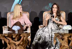 "BEVERLY HILLS, CALIFORNIA - SEPTEMBER 30: Actors Elle Fanning and Angelina Jolie participate in the global press conference for ""Disney's Maleficent: Mistress of Evil"" on September 30, 2019 in Beverly Hills, California. (Photo by Alberto E. Rodriguez/Getty Images for Disney)"