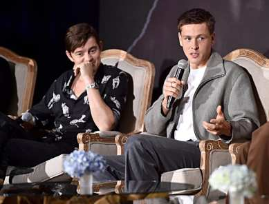 """BEVERLY HILLS, CALIFORNIA - SEPTEMBER 30: Actors Sam Riley and Harris Dickinson participate in the global press conference for """"Disney's Maleficent: Mistress of Evil"""" on September 30, 2019 in Beverly Hills, California. (Photo by Alberto E. Rodriguez/Getty Images for Disney)"""
