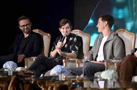"BEVERLY HILLS, CALIFORNIA - SEPTEMBER 30: (L-R) Director Joachim Ronning, actors Sam Riley and Harris Dickinson participate in the global press conference for ""Disney's Maleficent: Mistress of Evil"" on September 30, 2019 in Beverly Hills, California. (Photo by Alberto E. Rodriguez/Getty Images for Disney)"