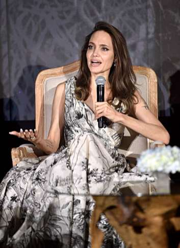 """BEVERLY HILLS, CALIFORNIA - SEPTEMBER 30: Actor Angelina Jolie participates in the global press conference for """"Disney's Maleficent: Mistress of Evil"""" on September 30, 2019 in Beverly Hills, California. (Photo by Alberto E. Rodriguez/Getty Images for Disney)"""