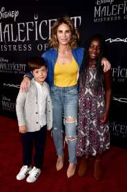 "HOLLYWOOD, CALIFORNIA - SEPTEMBER 30: (L-R) Phoenix Michaels Rhoades, Jillian Michaels, and Lukensia Michaels Rhoades attend the World Premiere of Disney's ""Maleficent: Mistress of Evil"" at the El Capitan Theatre on September 30, 2019 in Hollywood, California. (Photo by Alberto E. Rodriguez/Getty Images for Disney)"