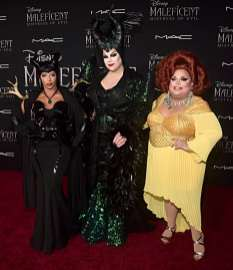 "HOLLYWOOD, CALIFORNIA - SEPTEMBER 30: (L-R) Shangela, Nina West, and Ginger Minj attend the World Premiere of Disney's ""Maleficent: Mistress of Evil"" at the El Capitan Theatre on September 30, 2019 in Hollywood, California. (Photo by Alberto E. Rodriguez/Getty Images for Disney)"