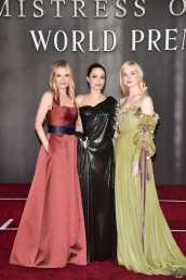 """HOLLYWOOD, CALIFORNIA - SEPTEMBER 30: (L-R) Actors Michelle Pfeiffer, Angelina Jolie, and Elle Fanning attend the World Premiere of Disney's """"Maleficent: Mistress of Evil"""" at the El Capitan Theatre on September 30, 2019 in Hollywood, California. (Photo by Alberto E. Rodriguez/Getty Images for Disney)"""