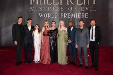 Harris Dickinson, Sam Riley, Jenn Murray, Michelle Pfeiffer, Angelina Jolie, Elle Fanning, Chiwetel Ejiofor, Ed Skrein and Director Joachim Ronning attend the World Premiere of DisneyÕs ÒMaleficent: Mistress of EvilÓ at the El Capitan Theatre in Hollywood, CA on September 30, 2019 .(photo: Alex J. Berliner/ABImages)