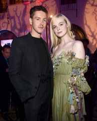 """HOLLYWOOD, CALIFORNIA - SEPTEMBER 30: Actors Harris Dickinson and Elle Fanning attend the World Premiere of Disney's """"Maleficent: Mistress of Evil"""" at the El Capitan Theatre on September 30, 2019 in Hollywood, California. (Photo by Alberto E. Rodriguez/Getty Images for Disney)"""
