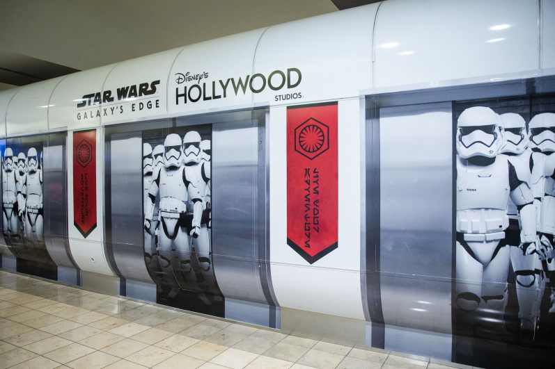 First Order Stormtroopers appear to be on a terminal train at Orlando International Airport in Orlando, Fla., Nov. 16, 2019. Disney installed these artistic renderings on the terminal shuttle stations to bring the adventure of Star Wars: Galaxy's Edge at Disney's Hollywood Studios to airport travelers. (Steven Diaz, photographer)