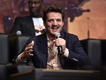 "HOLLYWOOD, CALIFORNIA - NOVEMBER 13: Pedro Pascal speaks onstage at the premiere of Lucasfilm's first-ever, live-action series, ""The Mandalorian,"" at the El Capitan Theatre in Hollywood, Calif. on November 13, 2019. ""The Mandalorian"" streams exclusively on Disney+. (Photo by Alberto E. Rodriguez/Getty Images for Disney)"