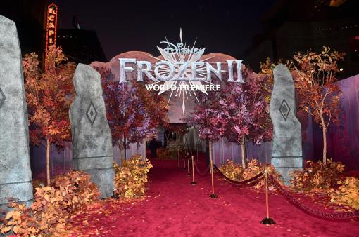 "HOLLYWOOD, CALIFORNIA - NOVEMBER 07: View of signage at the world premiere of Disney's ""Frozen 2"" at Hollywood's Dolby Theatre on Thursday, November 7, 2019 in Hollywood, California. (Photo by Alberto E. Rodriguez/Getty Images for Disney)"