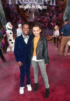 "HOLLYWOOD, CALIFORNIA - NOVEMBER 07: (L-R) Ramon Reed and Kaylin Hayman attend the world premiere of Disney's ""Frozen 2"" at Hollywood's Dolby Theatre on Thursday, November 7, 2019 in Hollywood, California. (Photo by Alberto E. Rodriguez/Getty Images for Disney)"