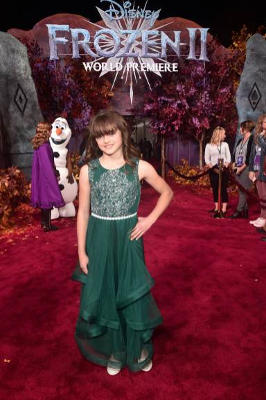 """HOLLYWOOD, CALIFORNIA - NOVEMBER 07: Actress Hadley Gannaway attends the world premiere of Disney's """"Frozen 2"""" at Hollywood's Dolby Theatre on Thursday, November 7, 2019 in Hollywood, California. (Photo by Alberto E. Rodriguez/Getty Images for Disney)"""