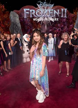 "HOLLYWOOD, CALIFORNIA - NOVEMBER 07: Angelica Hale attends the world premiere of Disney's ""Frozen 2"" at Hollywood's Dolby Theatre on Thursday, November 7, 2019 in Hollywood, California. (Photo by Alberto E. Rodriguez/Getty Images for Disney)"