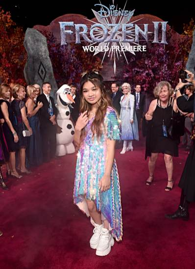 """HOLLYWOOD, CALIFORNIA - NOVEMBER 07: Angelica Hale attends the world premiere of Disney's """"Frozen 2"""" at Hollywood's Dolby Theatre on Thursday, November 7, 2019 in Hollywood, California. (Photo by Alberto E. Rodriguez/Getty Images for Disney)"""