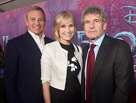 "HOLLYWOOD, CALIFORNIA - NOVEMBER 07: (L-R) The Walt Disney Company Chairman and CEO Bob Iger, Willow Bay and Co-Chairman and Chief Creative Officer of The Walt Disney Studios Alan Horn attend the world premiere of Disney's ""Frozen 2"" at Hollywood's Dolby Theatre on Thursday, November 7, 2019 in Hollywood, California. (Photo by Alberto E. Rodriguez/Getty Images for Disney)"