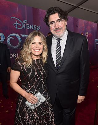 """HOLLYWOOD, CALIFORNIA - NOVEMBER 07: (L-R) Director/writer/Walt Disney Animation Studios CCO Jennifer Lee and Actor Alfred Molina attends the world premiere of Disney's """"Frozen 2"""" at Hollywood's Dolby Theatre on Thursday, November 7, 2019 in Hollywood, California. (Photo by Alberto E. Rodriguez/Getty Images for Disney)"""