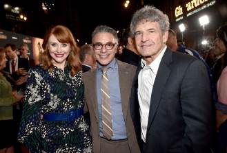 "HOLLYWOOD, CALIFORNIA - NOVEMBER 13: (L-R) Director Bryce Dallas Howard, President, Content and Marketing for Disney+ Ricky Strauss and Co-Chairman and Chief Creative Officer of The Walt Disney Studios Alan Horn arrive at the premiere of Lucasfilm's first-ever, live-action series, ""The Mandalorian,"" at the El Capitan Theatre in Hollywood, Calif. on November 13, 2019. ""The Mandalorian"" streams exclusively on Disney+. (Photo by Alberto E. Rodriguez/Getty Images for Disney)"