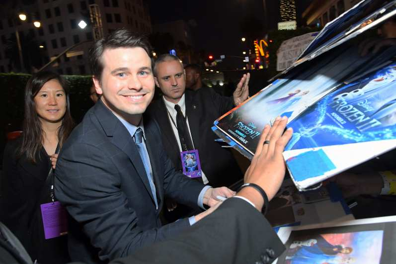 "HOLLYWOOD, CALIFORNIA - NOVEMBER 07: Actor Jason Ritter attends the world premiere of Disney's ""Frozen 2"" at Hollywood's Dolby Theatre on Thursday, November 7, 2019 in Hollywood, California. (Photo by Charley Gallay/Getty Images for Disney)"