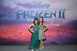 """HOLLYWOOD, CALIFORNIA - NOVEMBER 07: (L-R) Actresses Hadley Gannaway and Mattea Conforti attend the world premiere of Disney's """"Frozen 2"""" at Hollywood's Dolby Theatre on Thursday, November 7, 2019 in Hollywood, California. (Photo by Charley Gallay/Getty Images for Disney)"""