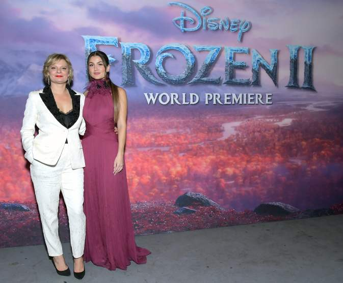 "HOLLYWOOD, CALIFORNIA - NOVEMBER 07: (L-R) Actresses Martha Plimpton and Rachel Matthews attends the world premiere of Disney's ""Frozen 2"" at Hollywood's Dolby Theatre on Thursday, November 7, 2019 in Hollywood, California. (Photo by Charley Gallay/Getty Images for Disney)"