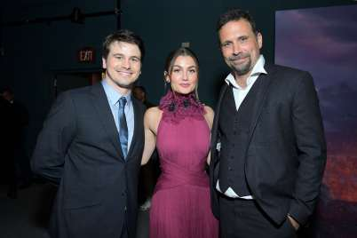 "HOLLYWOOD, CALIFORNIA - NOVEMBER 07: (L-R) Actor Jason Ritter, Actress Rachel Matthews, and Actor Jeremy Sisto attend the world premiere of Disney's ""Frozen 2"" at Hollywood's Dolby Theatre on Thursday, November 7, 2019 in Hollywood, California. (Photo by Charley Gallay/Getty Images for Disney)"