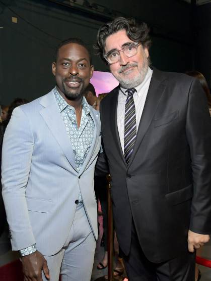"HOLLYWOOD, CALIFORNIA - NOVEMBER 07: (L-R) Actors Sterling K. Brown and Alfred Molina attend the world premiere of Disney's ""Frozen 2"" at Hollywood's Dolby Theatre on Thursday, November 7, 2019 in Hollywood, California. (Photo by Charley Gallay/Getty Images for Disney)"