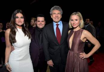"HOLLYWOOD, CALIFORNIA - NOVEMBER 07: (L-R) Actress Idina Menzel, Actor Josh Gad, Co-Chairman and Chief Creative Officer of The Walt Disney Studios Alan Horn, and Actress Kristen Bell attend the world premiere of Disney's ""Frozen 2"" at Hollywood's Dolby Theatre on Thursday, November 7, 2019 in Hollywood, California. (Photo by Charley Gallay/Getty Images for Disney)"