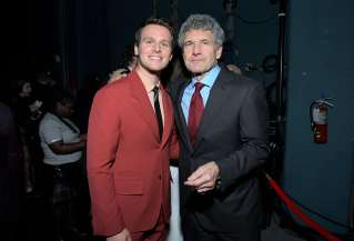 "HOLLYWOOD, CALIFORNIA - NOVEMBER 07: (L-R) Actor Jonathan Groff and Co-Chairman and Chief Creative Officer of The Walt Disney Studios Alan Horn attends the world premiere of Disney's ""Frozen 2"" at Hollywood's Dolby Theatre on Thursday, November 7, 2019 in Hollywood, California. (Photo by Charley Gallay/Getty Images for Disney)"