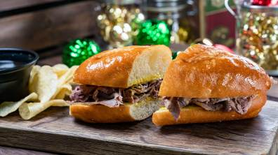 The French Dip Sandwich is part of the limited-time holiday foods at The Disneyland Resort. Available November 8 - January 6, this sandwich features roast beef and au jus on a crunchy French roll with spicy mustard. This treat can be be purchased at Refreshment Corner in Disneyland Park.(Disneyland Resort)