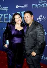 "HOLLYWOOD, CALIFORNIA - NOVEMBER 07: (L-R) Songwriters Kristen Anderson-Lopez and Robert Lopez attend the world premiere of Disney's ""Frozen 2"" at Hollywood's Dolby Theatre on Thursday, November 7, 2019 in Hollywood, California. (Photo by Jesse Grant/Getty Images for Disney)"