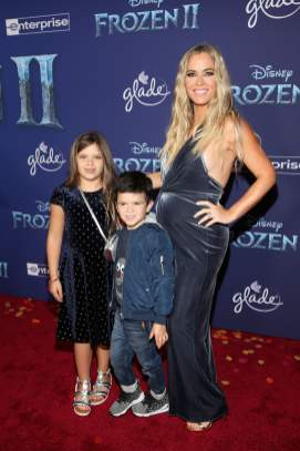 "HOLLYWOOD, CALIFORNIA - NOVEMBER 07: (L-R) Slate Arroyave, Cruz Arroyave, and Teddi Jo Mellencamp attends the world premiere of Disney's ""Frozen 2"" at Hollywood's Dolby Theatre on Thursday, November 7, 2019 in Hollywood, California. (Photo by Jesse Grant/Getty Images for Disney)"