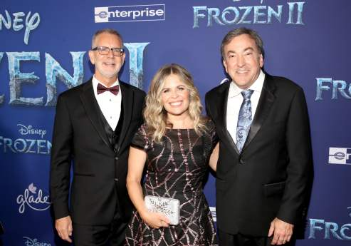"HOLLYWOOD, CALIFORNIA - NOVEMBER 07: (L-R) Director Chris Buck, Director/writer/Walt Disney Animation Studios CCO Jennifer Lee, and Producer Peter Del Vecho attend the world premiere of Disney's ""Frozen 2"" at Hollywood's Dolby Theatre on Thursday, November 7, 2019 in Hollywood, California. (Photo by Jesse Grant/Getty Images for Disney)"