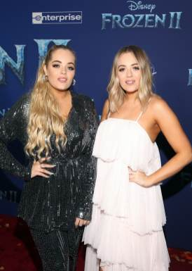 """HOLLYWOOD, CALIFORNIA - NOVEMBER 07: Lydia Connell and Lucy Connell attend the world premiere of Disney's """"Frozen 2"""" at Hollywood's Dolby Theatre on Thursday, November 7, 2019 in Hollywood, California. (Photo by Jesse Grant/Getty Images for Disney)"""