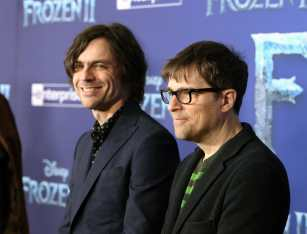 """HOLLYWOOD, CALIFORNIA - NOVEMBER 07: (L-R) Musicians Brian Bell and Rivers Cuomo of Weezer attend the world premiere of Disney's """"Frozen 2"""" at Hollywood's Dolby Theatre on Thursday, November 7, 2019 in Hollywood, California. (Photo by Jesse Grant/Getty Images for Disney)"""