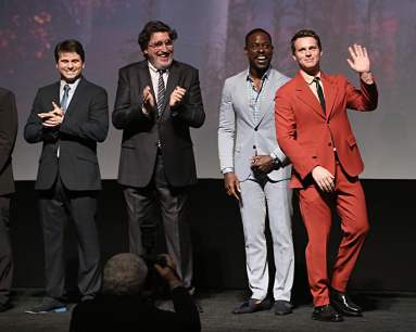 "HOLLYWOOD, CALIFORNIA - NOVEMBER 07: (L-R) Actors Jason Ritter, Alfred Molina, Sterling K. Brown, and Jonathan Groff attend the world premiere of Disney's ""Frozen 2"" at Hollywood's Dolby Theatre on Thursday, November 7, 2019 in Hollywood, California. (Photo by Jesse Grant/Getty Images for Disney)"
