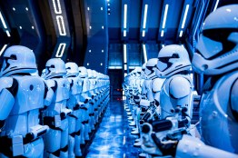 Fifty menacing First Order Stormtroopers await guests as they arrive in the hangar bay of a Star Destroyer as part of Star Wars: Rise of the Resistance, the groundbreaking new attraction opening Dec. 5, 2019, inside Star Wars: Galaxy's Edge at Disney's Hollywood Studios in Florida and Jan. 17, 2020, at Disneyland Park in California that takes guests into a climactic battle between the Resistance and the First Order. (Matt Stroshane, photographer)