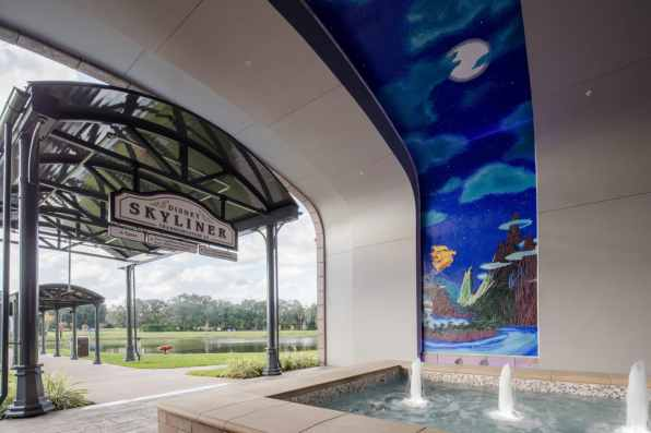 The mosaics featured reach over 20 feet tall within the tunnel, and each features the concept of flight, as a nod to the nearby Disney Skyliner station. (Steven Diaz, photographer)