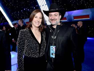"HOLLYWOOD, CALIFORNIA - DECEMBER 16: (L-R) Producer and President of Lucasfilm Kathleen Kennedy and Dave Filoni attend the World Premiere of ""Star Wars: The Rise of Skywalker"", the highly anticipated conclusion of the Skywalker saga on December 16, 2019 in Hollywood, California. (Photo by Alberto E. Rodriguez/Getty Images for Disney)"
