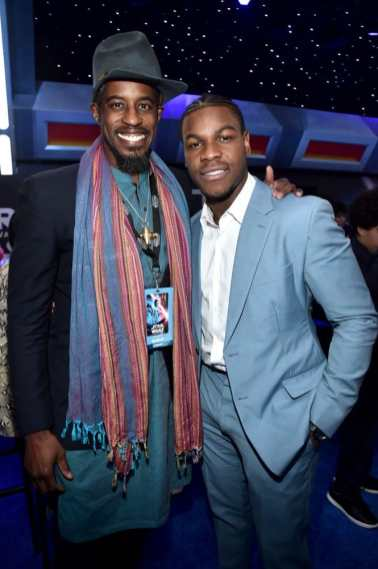 "HOLLYWOOD, CALIFORNIA - DECEMBER 16: (L-R) Ahmed Best and John Boyega attend the World Premiere of ""Star Wars: The Rise of Skywalker"", the highly anticipated conclusion of the Skywalker saga on December 16, 2019 in Hollywood, California. (Photo by Alberto E. Rodriguez/Getty Images for Disney)"