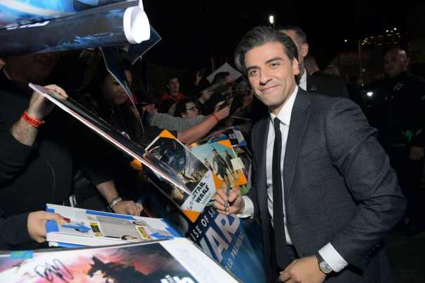 "HOLLYWOOD, CALIFORNIA - DECEMBER 16: Oscar Isaac arrives for the World Premiere of ""Star Wars: The Rise of Skywalker"", the highly anticipated conclusion of the Skywalker saga on December 16, 2019 in Hollywood, California. (Photo by Charley Gallay/Getty Images for Disney)"