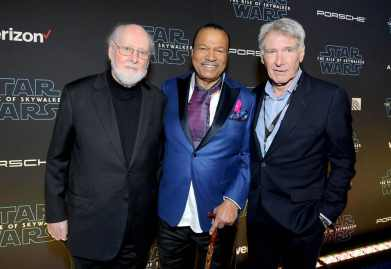 "HOLLYWOOD, CALIFORNIA - DECEMBER 16: (L-R) Composer John Williams, Billy Dee Williams and Harrison Ford arrive for the World Premiere of ""Star Wars: The Rise of Skywalker"", the highly anticipated conclusion of the Skywalker saga on December 16, 2019 in Hollywood, California. (Photo by Charley Gallay/Getty Images for Disney)"